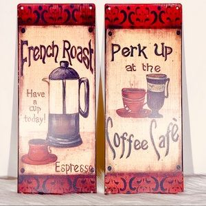 French Roast & Perk Up  Coffee Cafe Tin Plaques